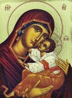 Immagine di 'Icona Madonna con manto rosso stampa su legno scavato - 24 x 19 cm'