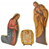 Sacra Famiglia tridimensionale sagomata in MDF - presepe 40 cm