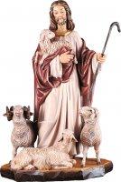 Gesù buon pastore con pecore  - Demetz - Deur - Statua in legno colorato. Altezza pari a 80 cm.