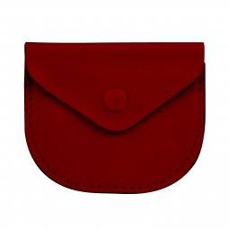 Copertina di 'Portarosario con bottone in vera pelle di colore rosso - 7 x 6 cm'