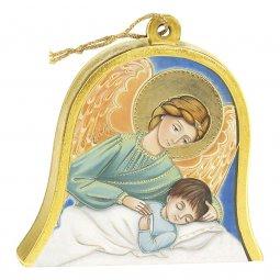 """Copertina di 'Icona in legno a campana """"Angelo custode"""" - dimensioni 10x11 cm'"""