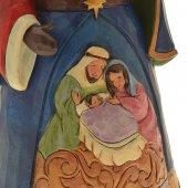 Immagine di 'Babbo Natale con Natività in resina colorata - altezza 27 cm'