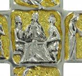 Immagine di 'Croce Vescovo pettorale in metallo bicolore raffigurante scene di vita di Gesù - 8,7 cm'