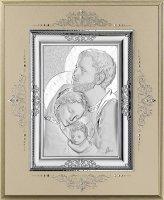 Icona Sacra Famiglia in argento 925 e legno - 10,5 x 8,5 cm