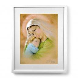 """Copertina di 'Quadro """"Madonna col bambino"""" verde con passe-partout e cornice minimal - dimensioni 53x43 cm'"""