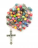 Rosario grani tondi in vetro satinato multicolori mm 6