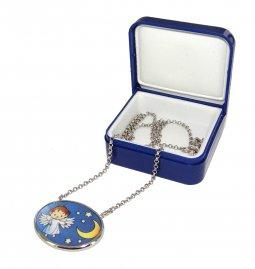Copertina di 'Collana argento con medaglia in porcellana - Angelo e Stelle'