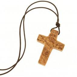 """Copertina di 'Croce in legno d'ulivo con laccio """"Il Buon Pastore"""" - altezza 4,5 cm'"""