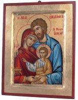 """Icona in legno e foglia oro """"Santa Famiglia"""" - dimensioni 30x23 cm"""