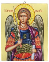 Icona Arcangelo Michele dipinta a mano su legno con fondo orocm 19x26