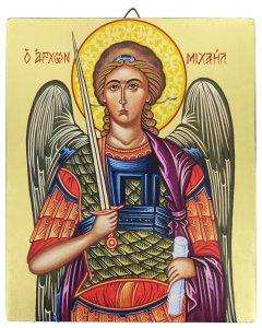 Copertina di 'Icona Arcangelo Michele dipinta a mano su legno con fondo orocm 19x26'