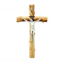 Copertina di 'Croce in legno d'ulivo e metallo argentato - altezza 21 cm'