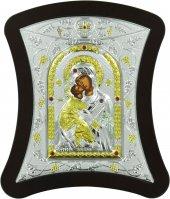 Icona con lastra argento Madonna di Vladimir cm 17X18,7