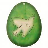 Uovo verde in PVC da appendere con augurio pasquale - altezza 10 cm