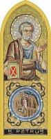 Quadro Apostolo San Pietro in legno a cuspide - 10 x 27 cm