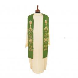 Copertina di 'Stola verde con calice e ostia ricamati'