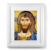 """Quadro  con passe-partout e cornice decorata a sbalzo """"Cristo Pantocratore"""" - 59 x 49 cm"""