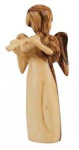 """Copertina di 'Statuetta in legno d'ulivo """"Angelo con flauto"""" - altezza 7,5 cm'"""