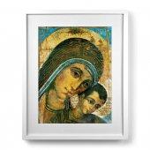 """Quadro """"Madonna col Bambino"""" di Kiko con passe-partout e cornice minimal - dimensioni 53x43 cm - Kiko"""