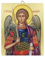 Icona Arcangelo Michele dipinta a mano su legno con fondo orocm 13x16