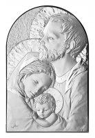 Quadro Sacra Famiglia a forma di arco con lastra in argento - Bassorilievo - 19 x 12,5 cm