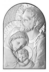 Copertina di 'Quadro Sacra Famiglia a forma di arco con lastra in argento - Bassorilievo - 19 x 12,5 cm'