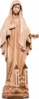 Statua della Madonna di Medjugorje in legno, 3 toni di marrone, linea da 15 cm - Demetz Deur