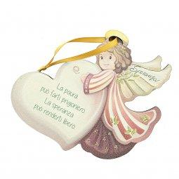 """Copertina di 'Angelo da appendere in legno colorato con cuore """"Speranza"""" - dimensioni 14x17 cm'"""