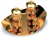 Ampolline in vetro con tappo e vassoio dorato - 100 cc