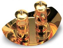 Copertina di 'Ampolline in vetro con tappo e vassoio dorato - 100 cc'