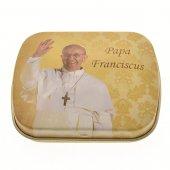 "Scatolina portarosario ""Papa Francesco"" con coroncina - grani tondi 5 mm"