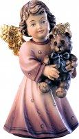 Statuina dell'angioletto con orsacchiotto, linea da 10 cm, in legno dipinto a mano, collezione Angeli Sissi - Demetz Deur