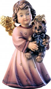 Copertina di 'Statuina dell'angioletto con orsacchiotto, linea da 10 cm, in legno dipinto a mano, collezione Angeli Sissi - Demetz Deur'
