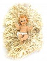 Gesù Bambino da 10 cm con simil-paglia per culla