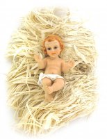 Gesù Bambino su paglia in poliresina dipinta - cm 10