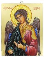 Icona Arcangelo Gabriele dipinta a mano su legno con fondo orocm 13x16