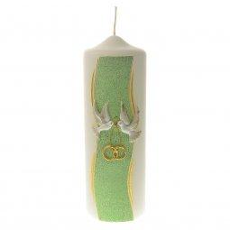 Copertina di 'Cero per matrimonio verde e bianco con colombe e fedi - altezza 24 cm'