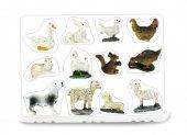 Statuine animali presepe: set 12 statuette galline, coniglio, cane, oche, pecore, gatto, scoiattolo, in resina dipinta a mano (circa 2,5 cm)