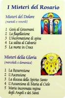 Immagine plastificata con i misteri del rosario - 8,5 x 5,4 cm - GL08