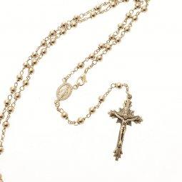 Copertina di 'Rosario collana in argento 925 con grani tondi (astuccio incluso)'