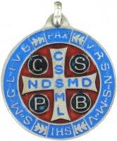 Immagine di 'Medaglia San Benedetto tonda in metallo argentato con smalto - 3 cm'
