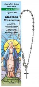 Copertina di 'Bracciale rosario Madonna Miracolosa con 11 grani in argento da 3 mm con croce'