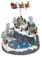 Villaggio natalizio con slitta renna e lago ghiacciato, movimento, luci, musica (39 x 32,5 x 36 cm)