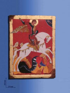 """Copertina di 'Icona in legno  """"San Giorgio"""" - dimensioni 36x27 cm'"""