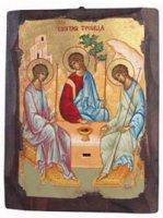 """Icona in legno dipinta a mano """"Trinità di Rublev"""" - dimensioni 28x21 cm"""