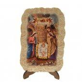 """Icona effetto pietra con cavalletto """"Natività di Gesù"""" - dimensioni 15x10 cm"""