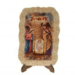 """Copertina di 'Icona effetto pietra con cavalletto """"Natività di Gesù"""" - dimensioni 15x10 cm'"""