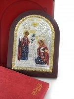 Immagine di 'Icona Annunciazione greca a forma di arco con lastra in argento - 15 x 20 cm'