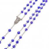 Immagine di 'Rosario in cristallo blu con croce in metallo color argento - grani sfaccettati 5 mm'