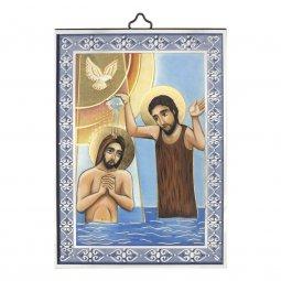 """Copertina di 'Icona con cornice azzurra """"Battesimo di Gesù"""" - dimensioni 14x10 cm'"""